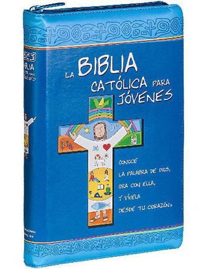 BIBLIA CATOLICA PARA JOVENES FORRO AZUL SEMI PIEL